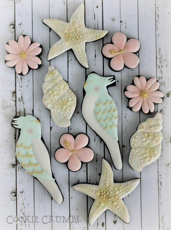 Cockatiels, Hybiscus, cone shells, sea stars by Mint Lemonade (Cookie Crumbs), posted at Cookie Connection. Gorgeous summer beach pastels.