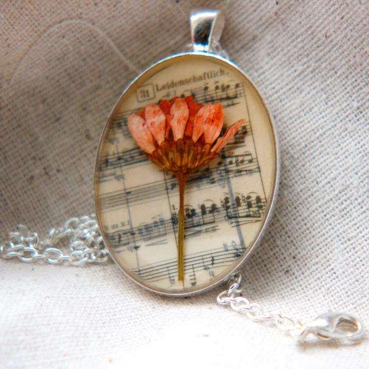 resin jewelry pressed flower necklace. peach daisy mum pressed botanical Pendant on music   Clothes...Yes Please   Pinterest   Resin Jewelry, Resin and Jewelry