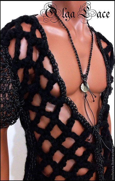 Купить Пуловер - черный, мужской пуловер, вязаный пуловер, дизайнерскиая одежда, концертный костюм, пряжа