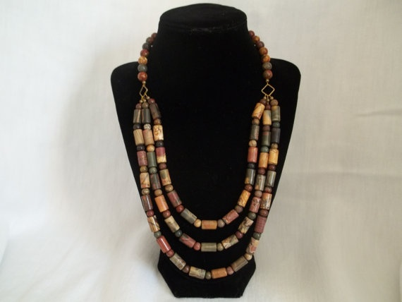 3 strand Picasso jasper necklace by Beadit669 on Etsy, $45.00