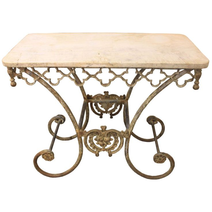 French Style Iron Pastry Table With Limestone Top