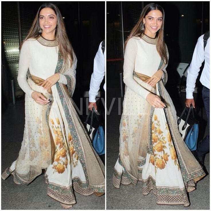 @DeepikaPadukone snapped at the airport as she returns from Bangalore after attending an event wearing a @SabyasachiOfficial anarkali