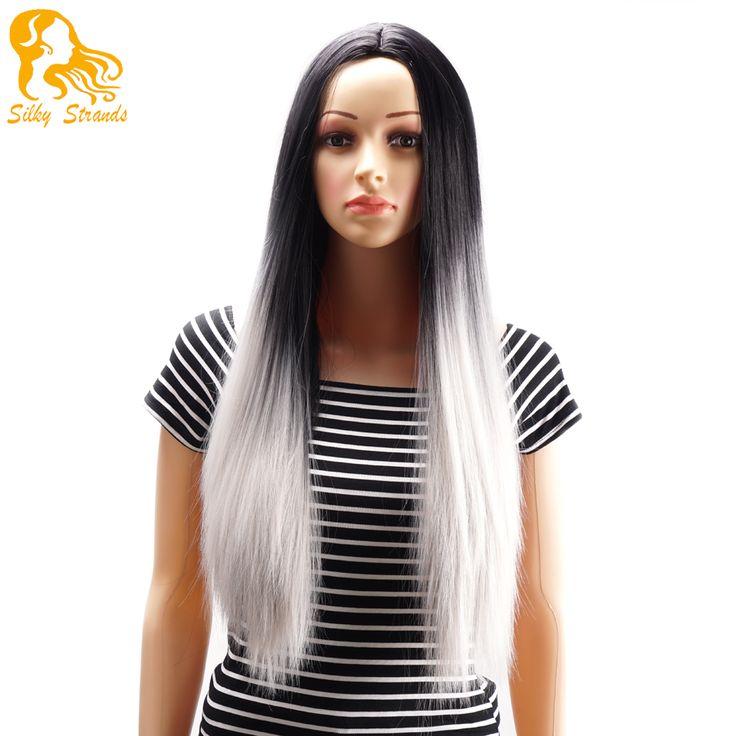 オンブル2トーン合成グレー髪かつらナチュラル安いロングストレート耐熱シルバーかつら黒人女性グレーレディースかつら
