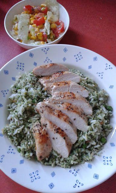 """"""" Zöld """" rizs, sült csirkével"""