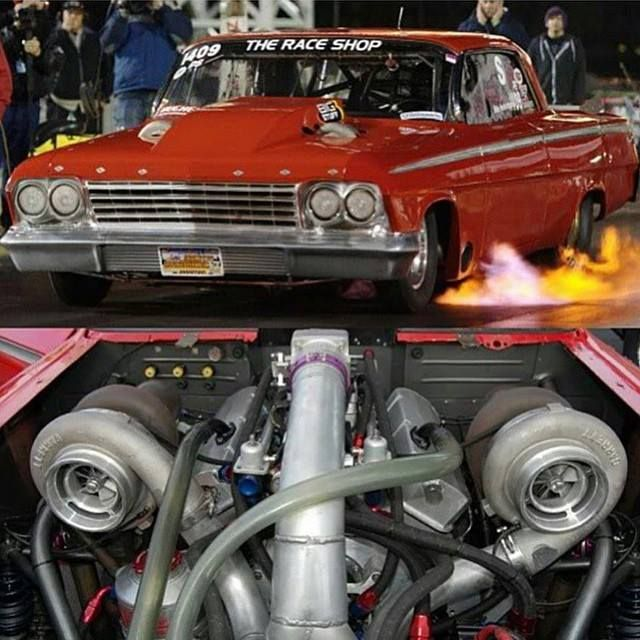 Turbo Harley Drag Race: Mike Holdridge Twin Turbo Impala Www.the-raceshop.com