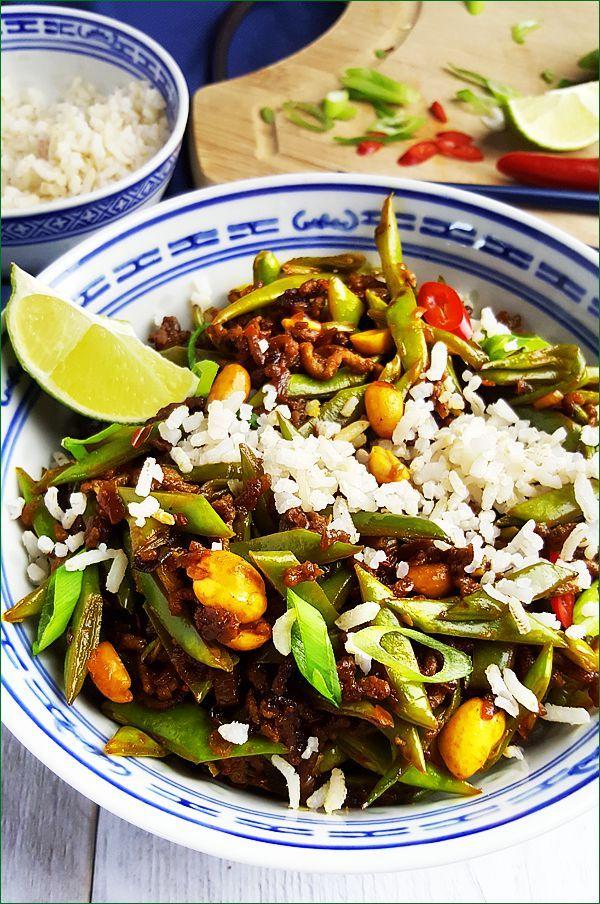Rijst met pittige snijbonen, gehakt en pinda's | Gewoon een foodblog!