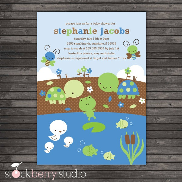 Turtle & Pond Animals Baby Shower DIY Printable Invitation. $10.00, via Etsy.