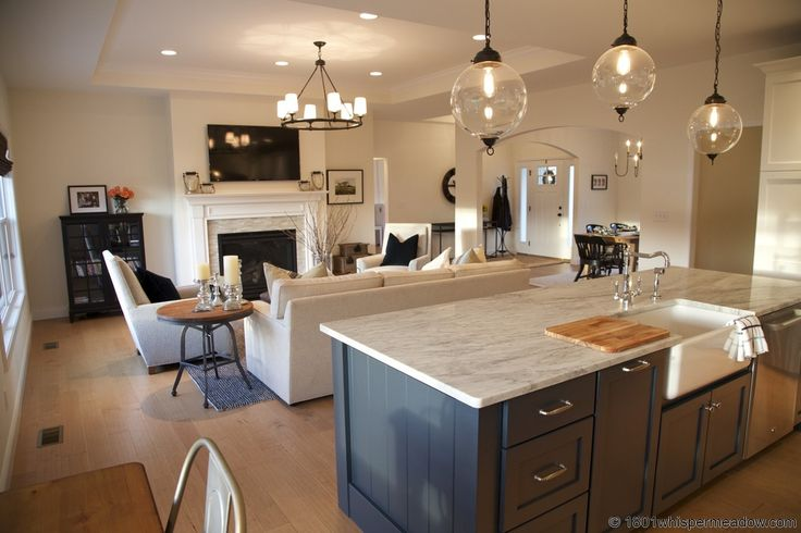 Contemporary great room with crown molding apron sink for Great room kitchen ideas