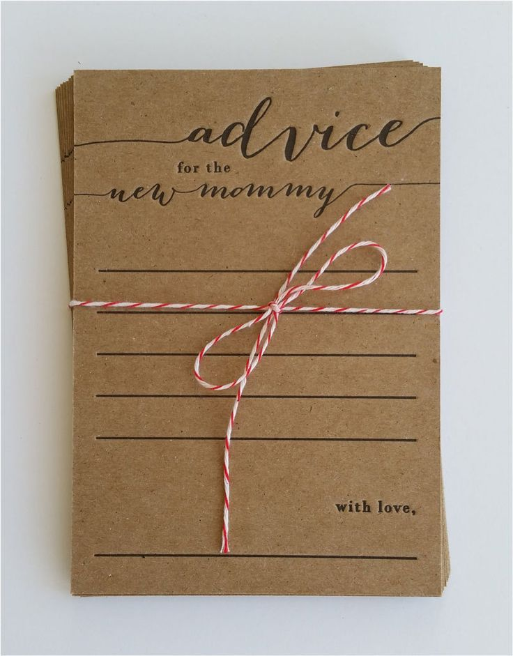 advice for the new mommy - letterpress - pack of 10 - baby shower game - rustic - country - keepsake by halfpintinkstudio on Etsy