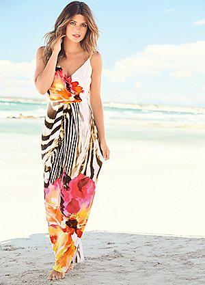Floral & Zebra Print Maxi Dress #kaleidoscope #holiday #dress