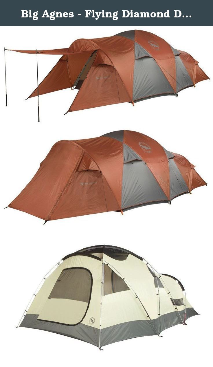 Big Agnes - Flying Diamond Deluxe Car Camping/Base Camping Tent, 6 Person. FEATURES of the Big Agnes Flying Diamond - 6 Person Tent Two doors and vestibules Doors have two closure options: Zip up mesh door for ventilation only or zip up the polyester layer for full protection Vestibule may be staked out as a shade using trekking poles 6 and 8 person may be separated into two rooms with a fabric wall that can be stowed away when not in use Storm flaps on vestibule zipper Reflective…