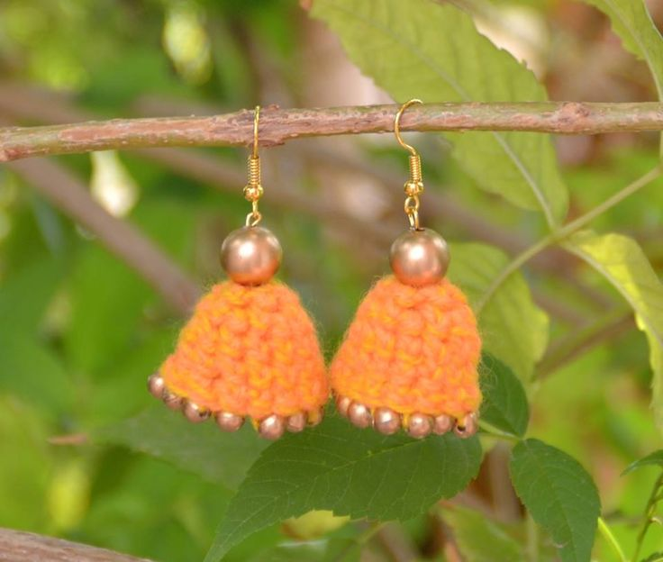 Orange Crochet Jhumka