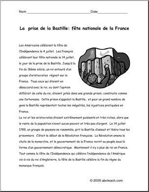 French:  Compr�hension de lecture n/b�la Prise de la Bastille, f�te nationale de la France - Reading comprehension activity with questions. b/w  Activit� de compr�hension avec des questions. n/b