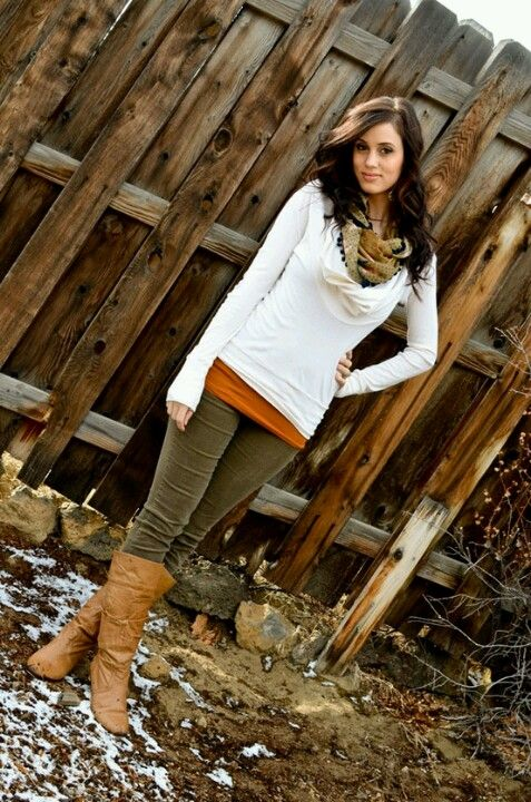 Olive jeans, brown boots, dark orange undershirt, white long sleeve shirt, scarf!