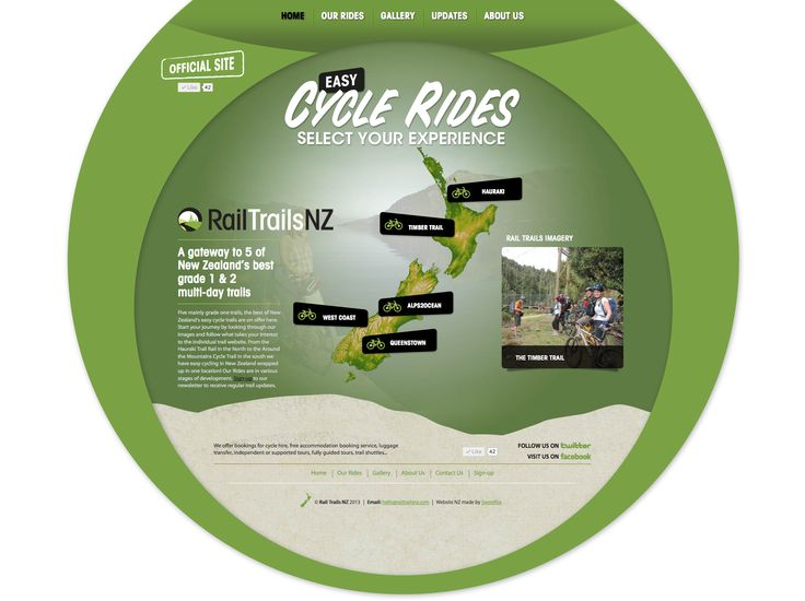 Easy Cycle Rides - A gateway to 5 of New Zealand's best grade 1 & 2 multi-day trails.  Umbrella site - http://www.railtrailsnz.com/