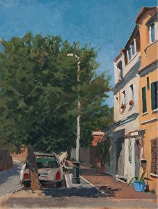 """First Thing Saturday Morning, Via del Pigneto 16x14"""" oil on linen SOLD"""