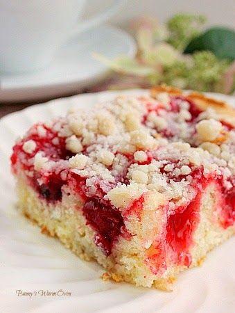 Cherry Coffee Cake with Crumb Topping. Use half Splenda and add 1/2 tsp. soda per 1 c. Flour to help raise.