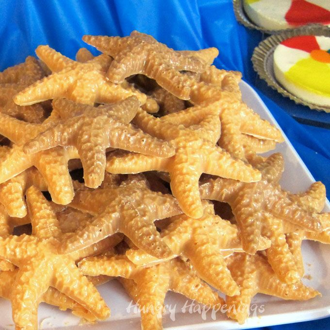 Creamy and crunchy candy starfish make fun treats for a beach themed party. Quickly make Butterscotch Crunch Starfish using 3 ingredients. See the recipe...