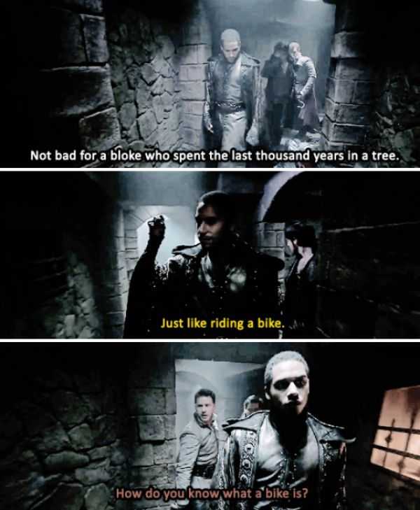 """""""How do you know what a bike is?"""" - Killian, Belle, Merlin and David #OnceUponATime"""