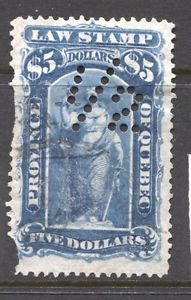 Canada van Dam QL28 Quebec Law stamp used (1/2 perfin) damage left side in Stamps, Canada, Back of Book   eBay