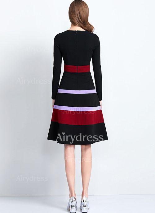 eac7969d6 Vestidos Elegante Hasta las rodillas Manga larga Bloque de color - Airydress