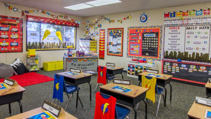 The popular Superhero Themed Classroom from Teacher Created Resources is sure to WOW your students.  Featuring skyscrapers, pop art wording, lights in the sky, superhero patterns, and traditional colors of superheroes! Red, Blue, Yellow and Black.