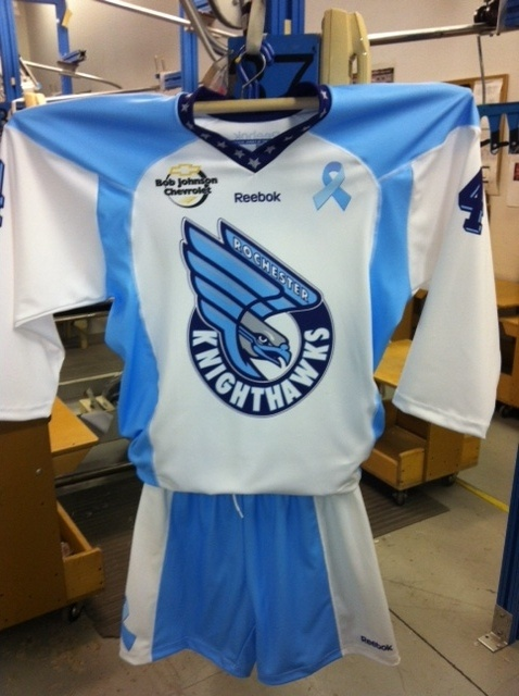Rochester Nighthawks of the NLL. Jerseys made by Projoy