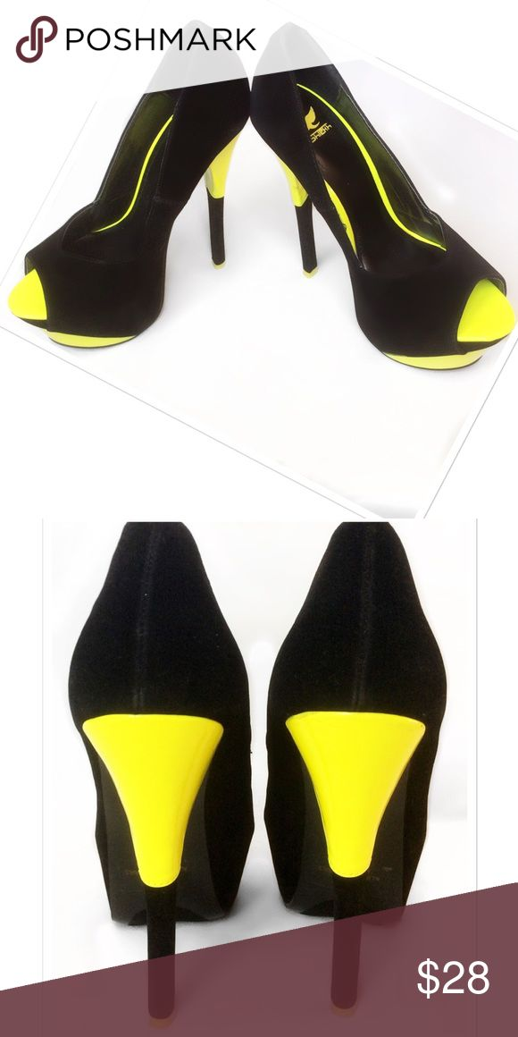 """Brand new Black Velvet & Neon Yellow Brand new without box. Great condition, never been worn. Black Velvet & Neon Yellow Patent Leather. They have been bumped around in the previous box, see pic 2 on the top right of the yellow, very hard to see, but no """"digs"""" they look great, priced accordingly. 4 1/2"""" heel, 1/2"""" platform. Bundle for a fantastic discount. Also open to offers. Shiekh Shoes Heels"""