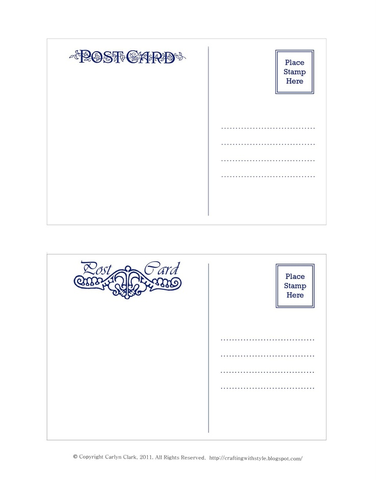 Crafting With Style: Free Postcard Templates  Postcard Format Template