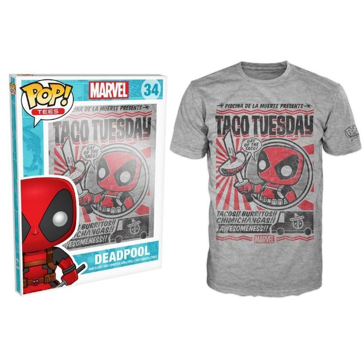 Deadpool is given a fun, and funky, stylized look on this Pop! Tee! Includes a mini standee collector card. #funko #tshirt #Deadpool #Chimichanga #TacoTuesday