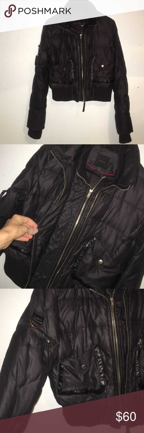 Express puffer jacket ! Super soft and warm puffer jacket from express . A tad bit of wear but practically brand new . Double zipper cool details around pockets live this but never wear it . Express Jackets & Coats Puffers
