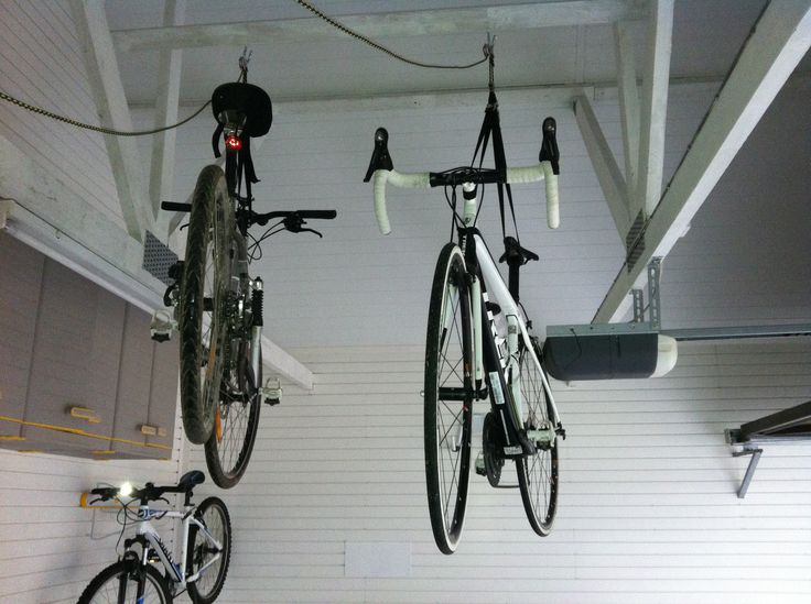 Another image showing bikes being stored on the garage ceiling using hoists and hangers. Tidy up your garage floor and get them out of the way! Our single hoists are just £55.17 inc shipping and VAT.