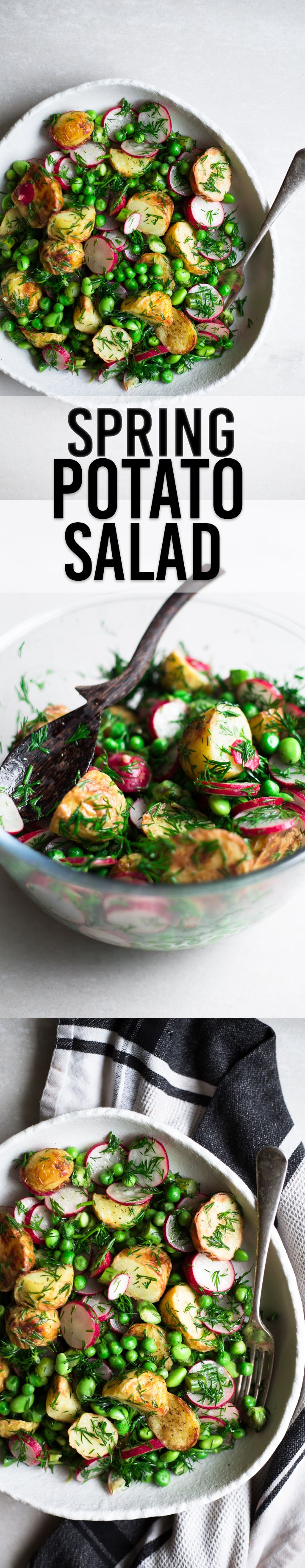 Vegan Spring Potato Salad - Roasted Potatoes, Radish, Asaparagus, Edamame and Green Peas dressed in a Tangy Dressing and Dill. #healthy #glutenfree #vegan #salad #potatosalad
