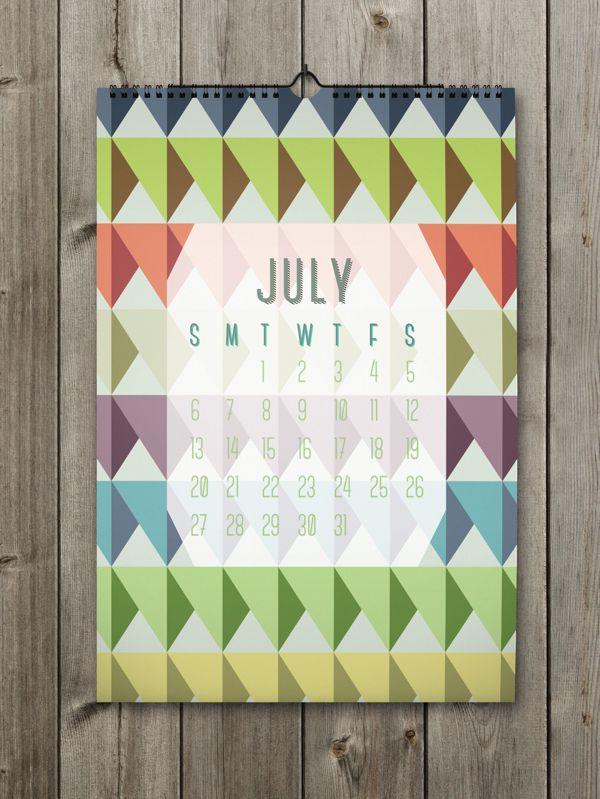 July Inspiring Calendar Design for the New Year: Shapes Calendar 2014