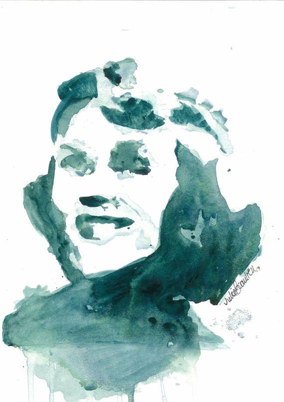 Sylvia Plath Watercolor Painting by DJUMTL