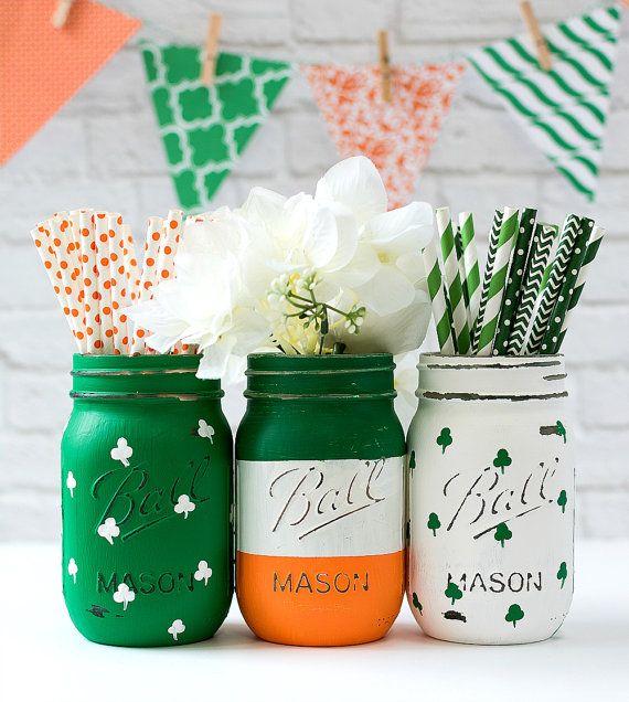 St Patricks Day Mason Jar Set - Irish Flag, Shamrock Mason Jars - Painted Distressed Mason Jar - St Patricks Party Decor