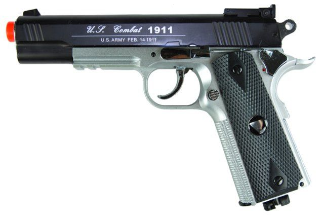 TSD CO2 Blowback M1911 Airsoft Pistol - TSD CO2 Blowback M1911 Airsoft Pistol, Black Metal Slide, Silver Nylon Frame, & Black Grips. Adjustable Hop Up, 475+ FPS with .20g BBs, Packaged in Pistol Case. Legal Disclaimer Restrictions: You must be 18 or older to order this product. In some areas, state and local laws further restrict or prohibit the sale and possession of this product. In ordering this product, you certify that you are at least 18 years old and satisfy your jurisdiction's legal…