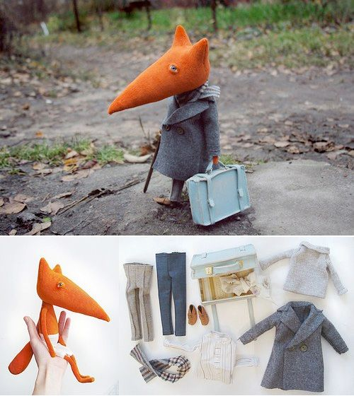 Yes, my new weakness is foxes. This precious handmade miniature is by Russian designer Luba – too talented, just too talented! Each little 'creature' takes 2-3 weeks to make and costs about €50. You can choose eye colour, style of clothes etc but I wouldn't want to change a one single detail. Come on Mr Fox, you're moving in with me :)