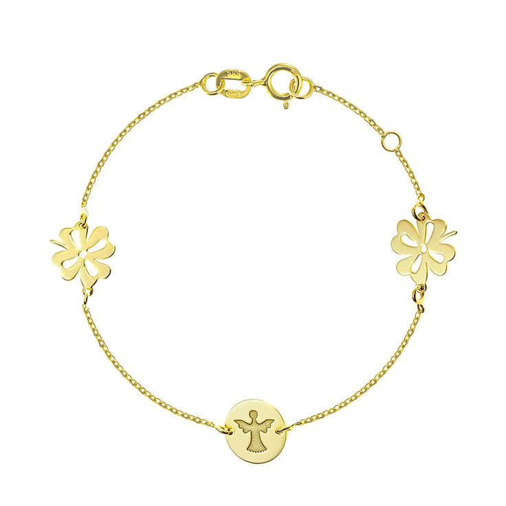Bratara cu trifoi si ingeras , bijuterii din aur alb, aur roz, aur galben, realizate de bijuteria Safir. Pentru mai multe detalii va rugam sa ne contactati.