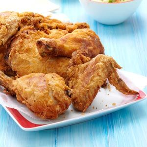 Picnic Fried Chicken | Use Bob's Red Mill brand All-Purpose Flour it's #WheatFree or mix yellow corn meal with yellow corn flour. Use the corn mixture in place of the flour in the recipe. | http://www.tasteofhome.com/recipes/picnic-fried-chicken?utm_content=buffer0ef8e&utm_medium=social&utm_source=facebook.com&utm_campaign=buffer