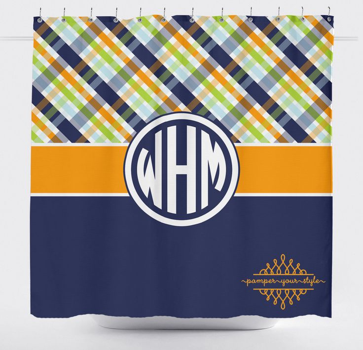 Plaid Shower Curtain - Navy, Green and Orange Bathroom - Boys Bathroom - Sibling Shower Curtain - Argyle Shower Curtain by PAMPERYOURSTYLE on Etsy https://www.etsy.com/listing/209099303/plaid-shower-curtain-navy-green-and