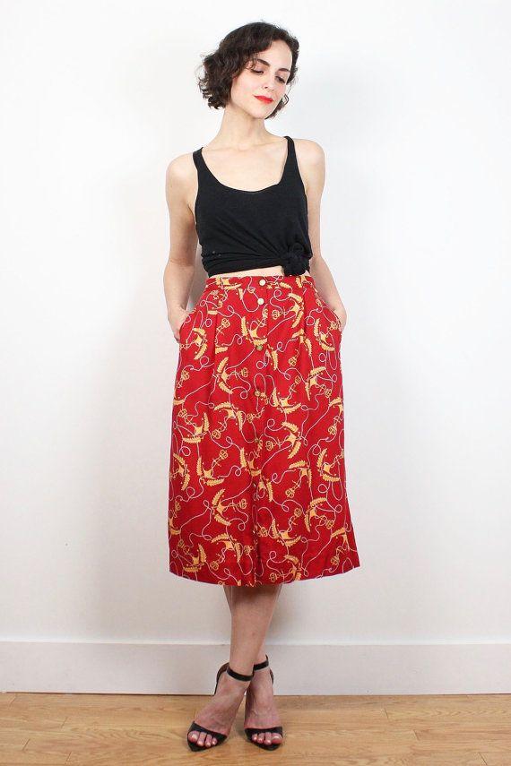 Vintage 80s Skirt Red Yellow Anchor Nautical Print Midi Skirt