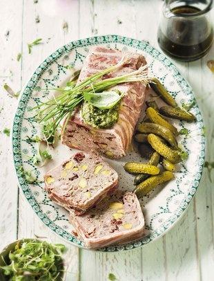 Pork terrine with pistachio and berries