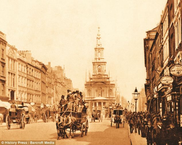 London then and now -A view of The Strand seen in 1894 in London, England-click for article and more pictures.