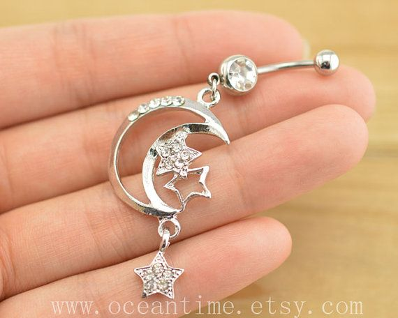 belly ring,belly button jewelry,moon and star belly button rings,moon navel ring,piercing belly ring,friendship piercing bellyring on Etsy, $6.99