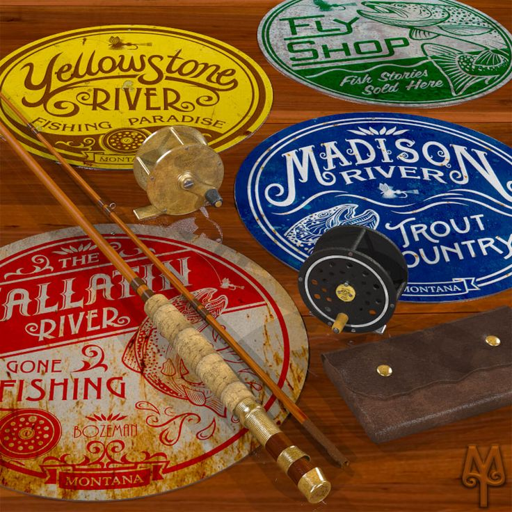 Vintage Fly Fishing Wall Signs by Montana Treasures...Add a Montana Treasures decorative metal wall sign to your home, cabin, or man cave; and, show everyone that you love all things fly fishing and Montana. Buy one today!
