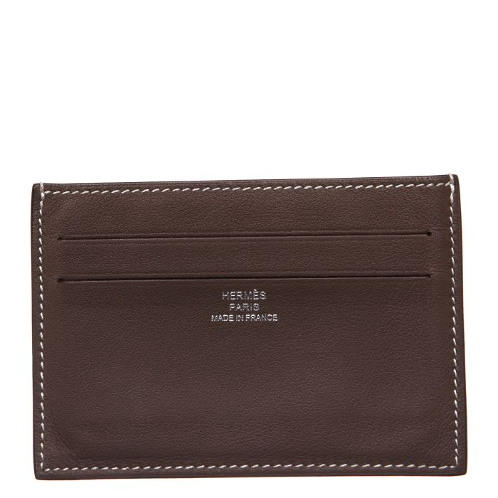 HERMÈS Pewter Swift Leather Citizen Twill Card Holder - Affordable Luxury