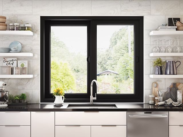 Black Interior And Exterior Window Frames Are A Hot Trend Right Now Update Your Kitchen View With Ultra Series B Interior Windows Black Windows White Windows