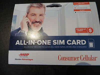 Consumer Cellular All In One Sim Card For Att And Unlocked Gsm Phones