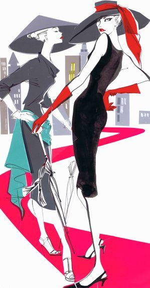 modèles de la mode des années 1950 posant sur le tapis rose dans la ville